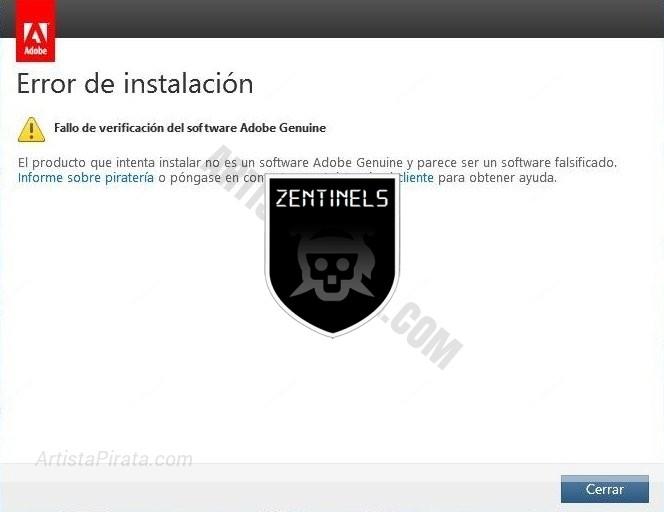 Solucion error Adobe Genuine