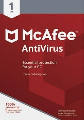 mcafee antivirus licencia original 1 año