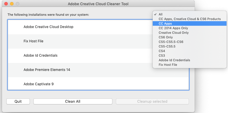 adobe cc cleaner tool - solucionar errores adobe en mac macos