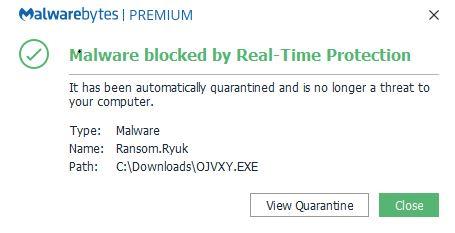 malwarebytes premium ryuk ransomware